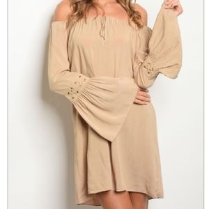 VAVA by Joy Han Taupe Bell Sleeve Dress